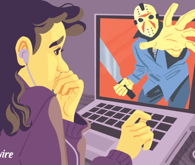 Illustration Of A Woman Watching A Scary Movie On Her Laptop