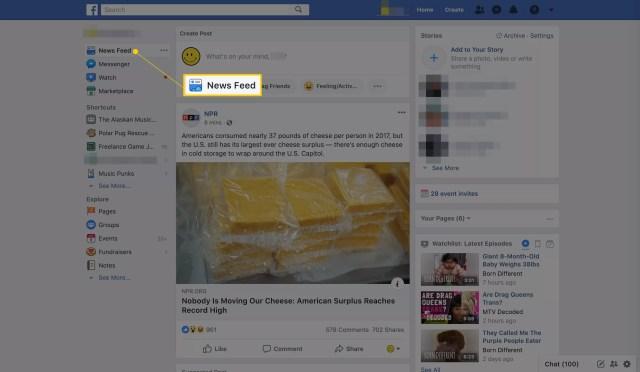 Fil d'actualité sur la page d'accueil de Facebook