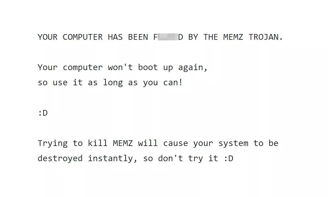Memz virus warning message