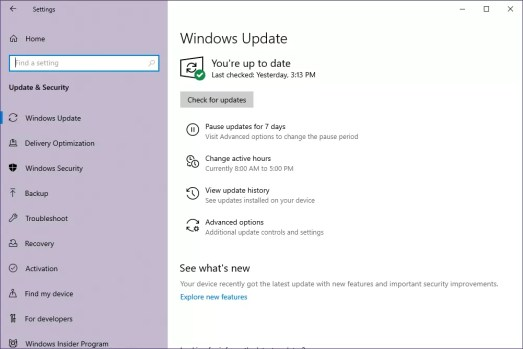 Windows Update utility in Windows 10