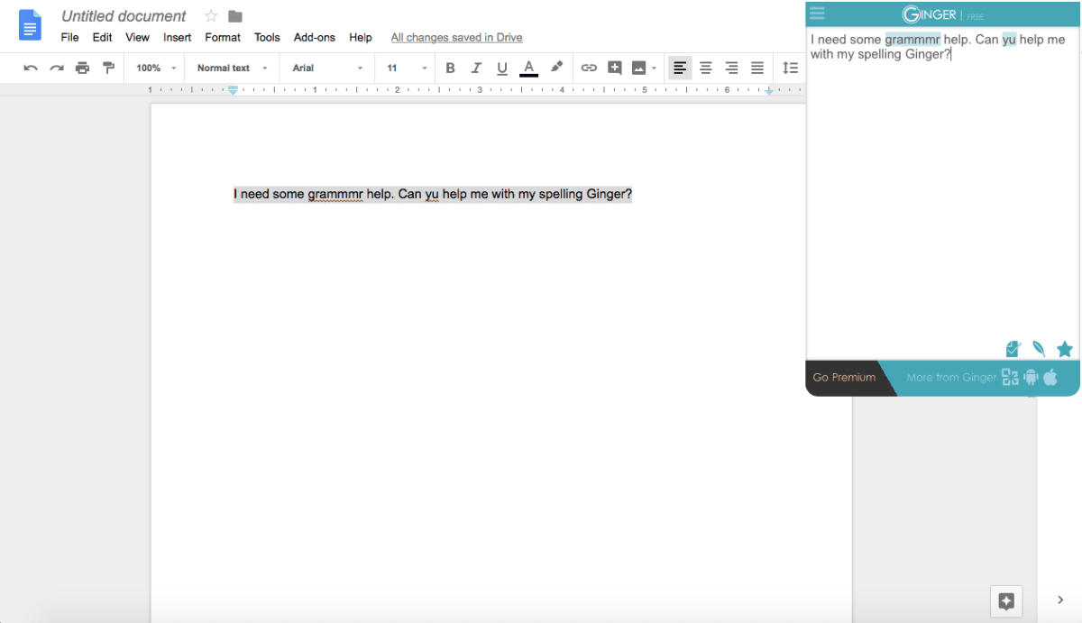 Photo of the Ginger app working within a Google doc