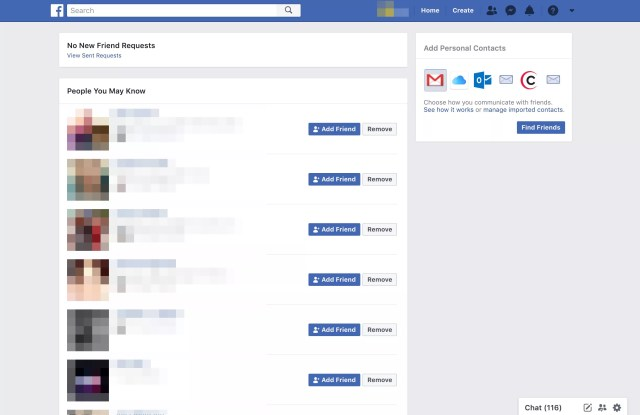 Facebook page Trouver des amis