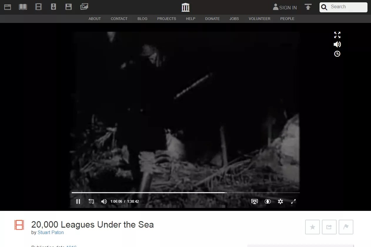 20,000 Leagues Under the Sea free movie at Internet Archive Movie Archive