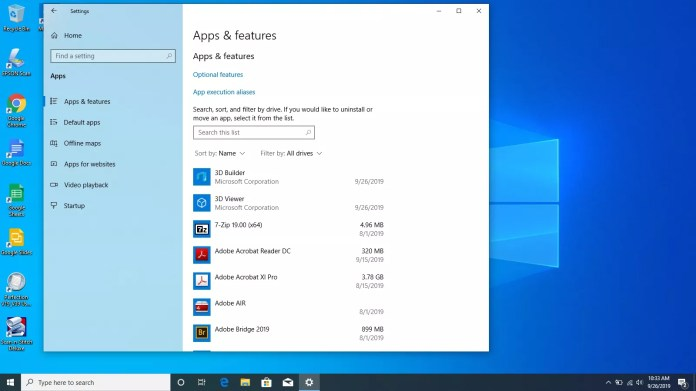 Apps and features in Windows 10.