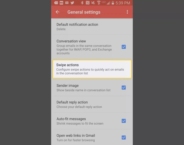 Swipe actions in General Gmail settings on Android