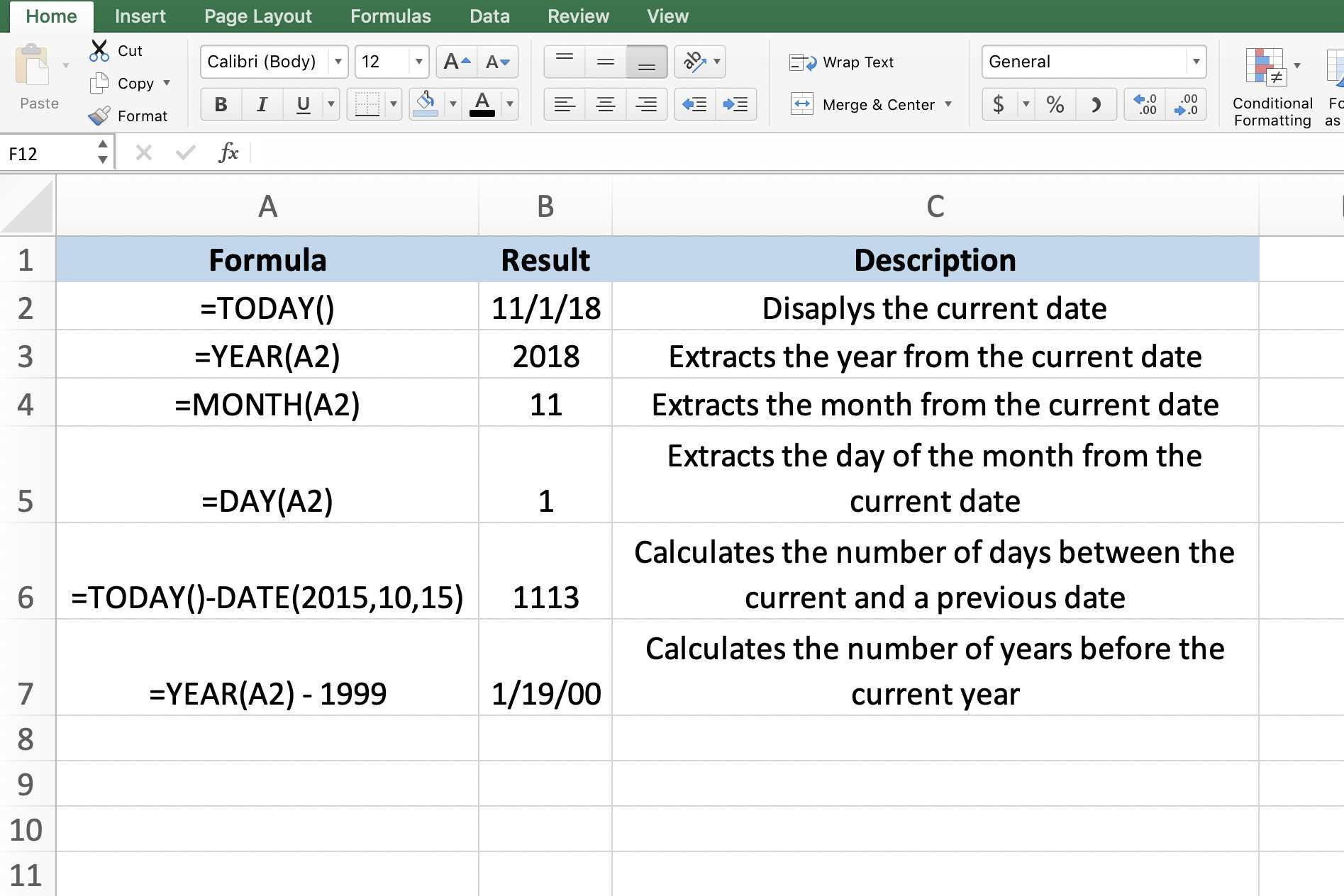 Use Today S Date Within Worksheet Calculations In Excel