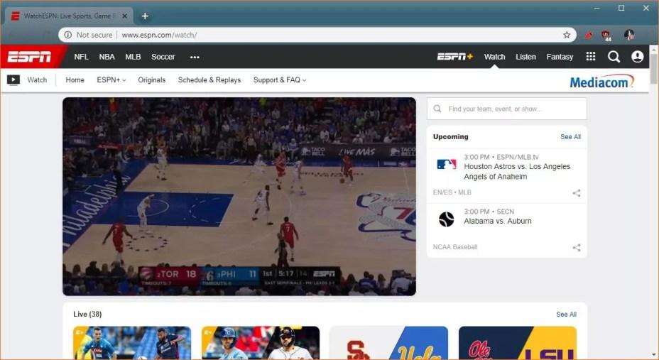 A screenshot of WatchESPN.