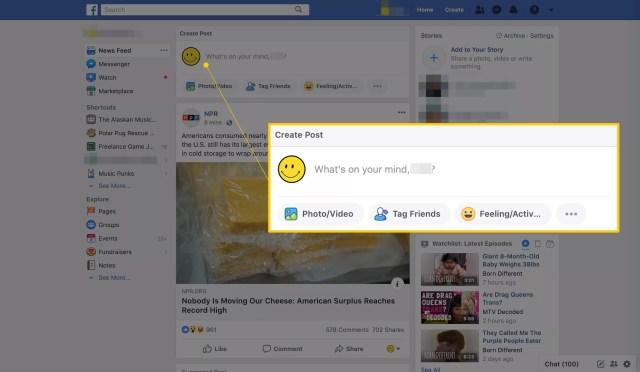 Mise à jour du statut sur Facebook