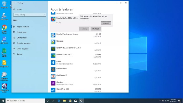 Selecting uninstall on an app in Windows 10.