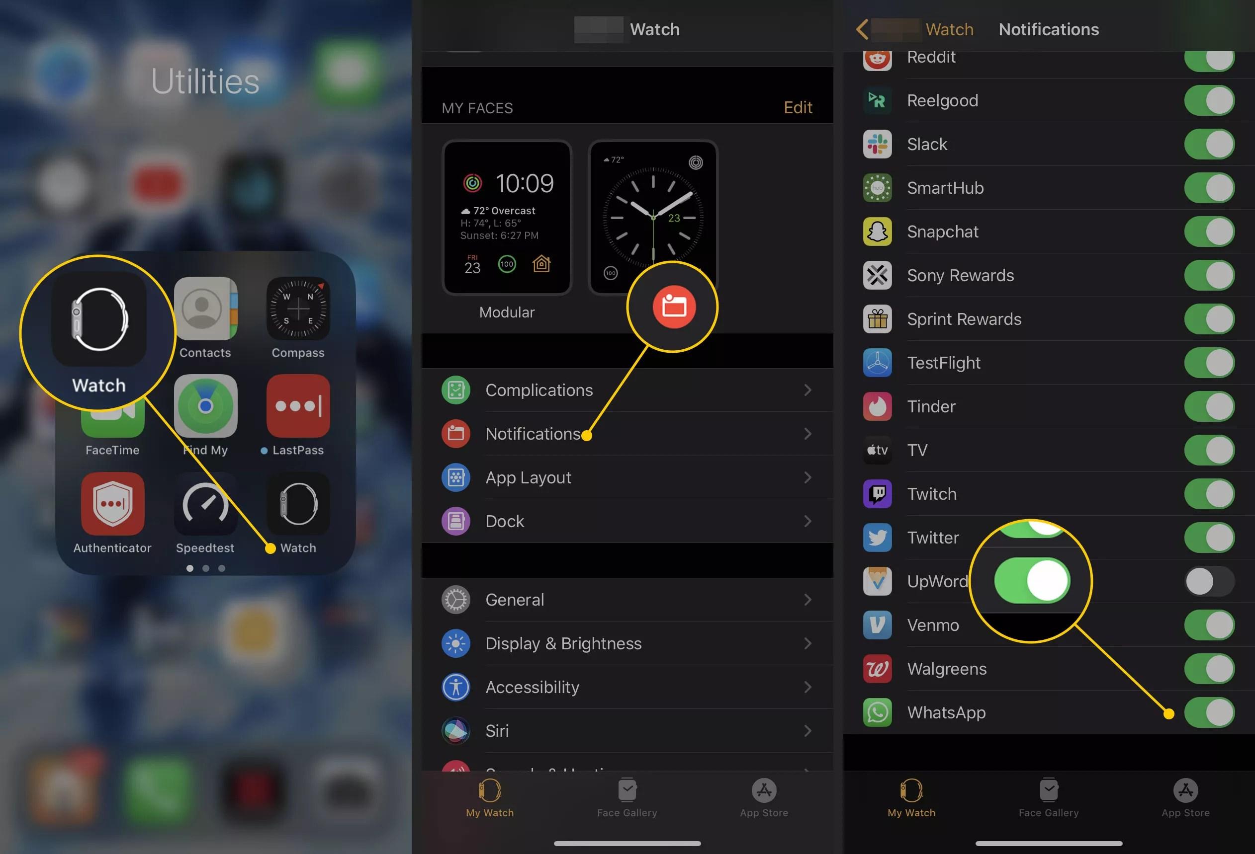 Notification settings in the iOS Watch app