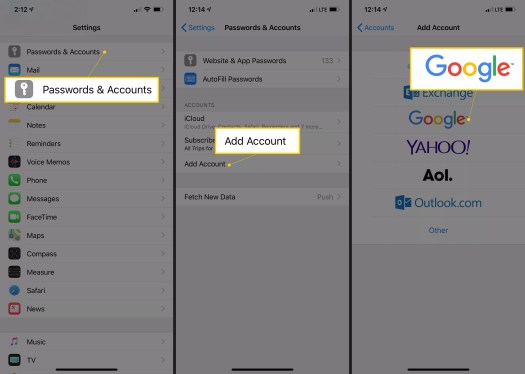 Passwords & Accounts, Add Account, and Google buttons in iOS Settings