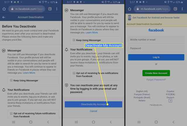 How to Deactivate Facebook on Android