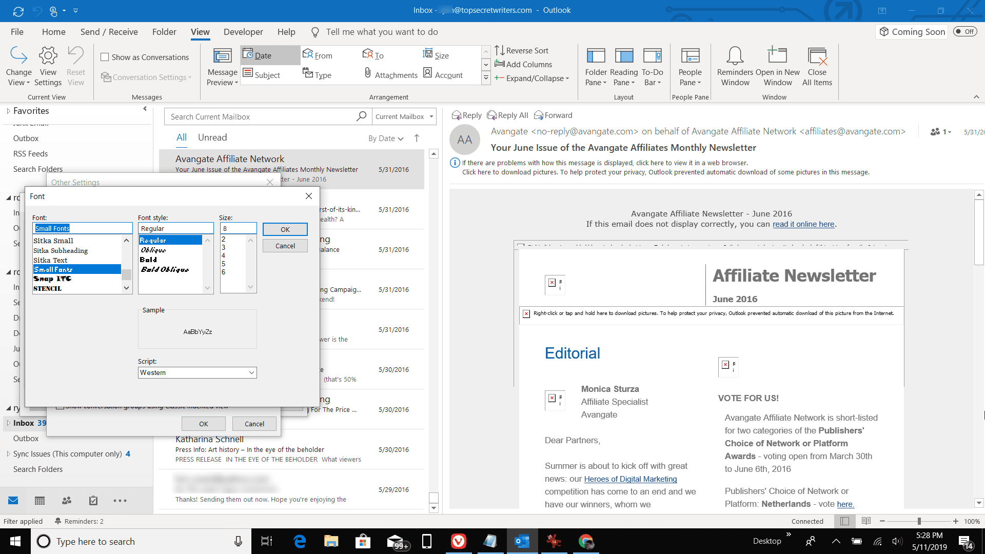 How To Change The Font Size Of The Outlook Message List