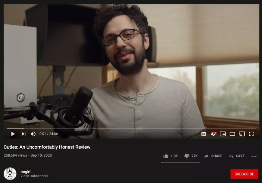 YouTuber Max Karson in his Cuties review with 77,000 dislikes