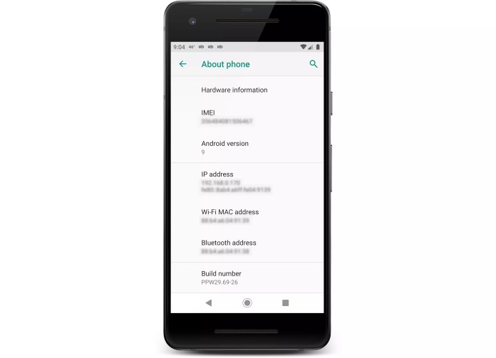 The about phone screen on an Android phone.