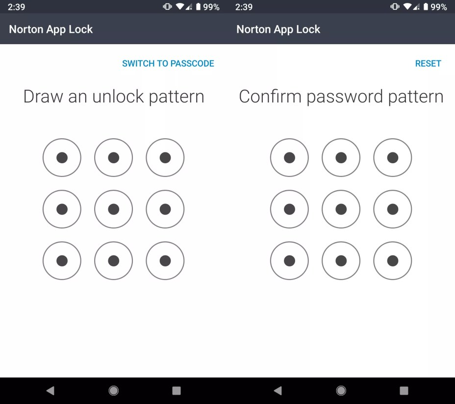 Draw your unlock pattern once again to confirm, or tap RESET to re-enter it.