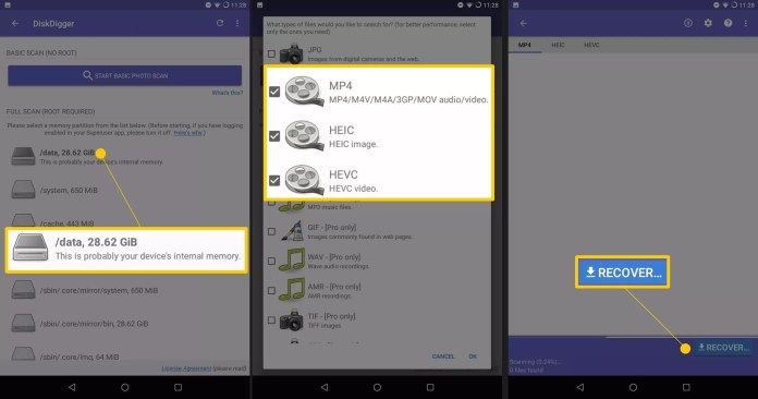 Three Android screens showing DiskDigger /data, video format selections, and Recover button