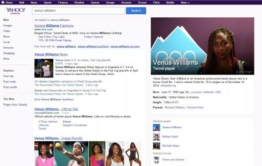 Yahoo! Search screen