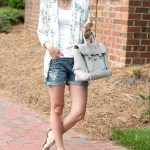 Floral Blazer & Distressed Denim Shorts