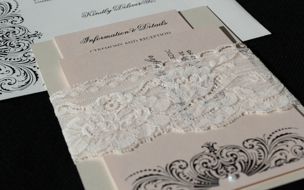 blush black ivory lace wedding invitations