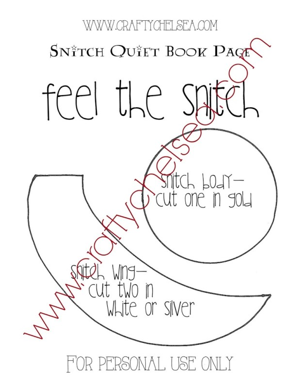 """Feel the Snitch"" Quiet Book Page: free pattern download so you can make the perfect Harry Potter page for your quiet book!"