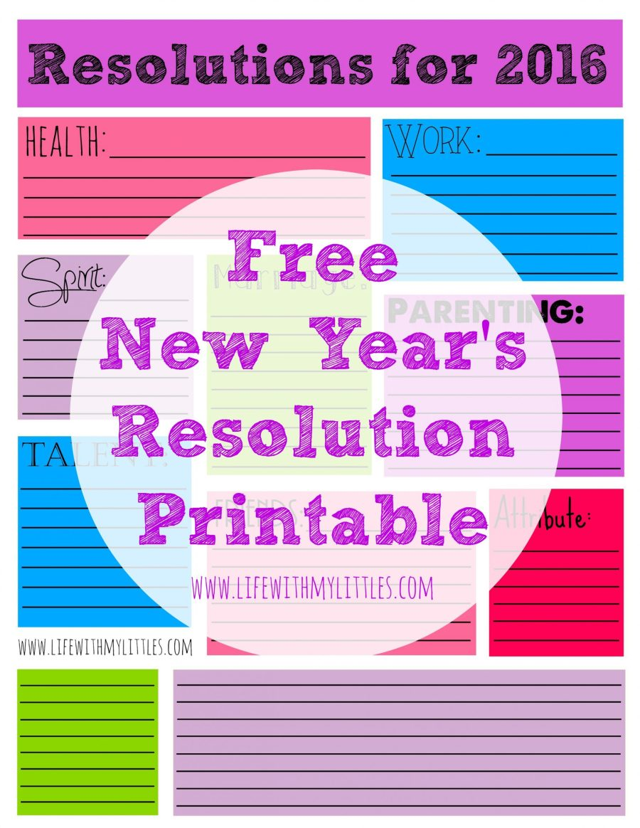 This free 2016 New Year's resolution printable is perfect for writing down your resolutions in 2016! There are areas for all different areas of your life, plus some blank spaces!