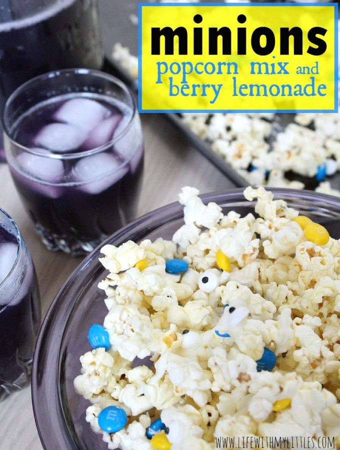 Minions Popcorn Mix and Berry Lemonade