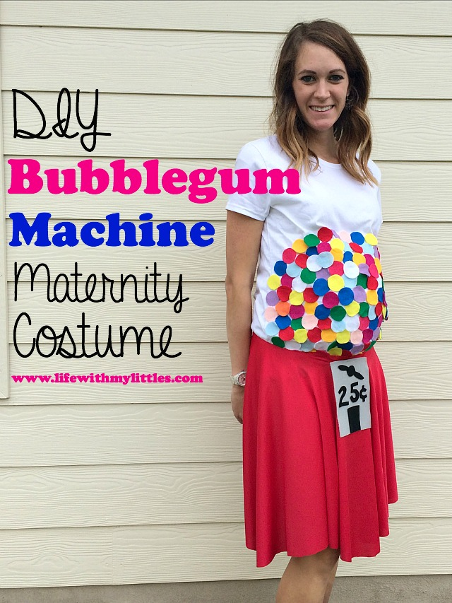 this diy bubblegum machine maternity costume is the perfect hallloween costume for pregnancy such a