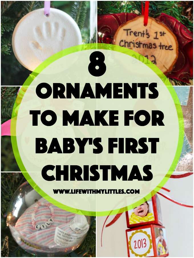 These DIY ornaments for baby's first Christmas are so cute! Eight easy ideas of baby's first Christmas ornaments you can make!