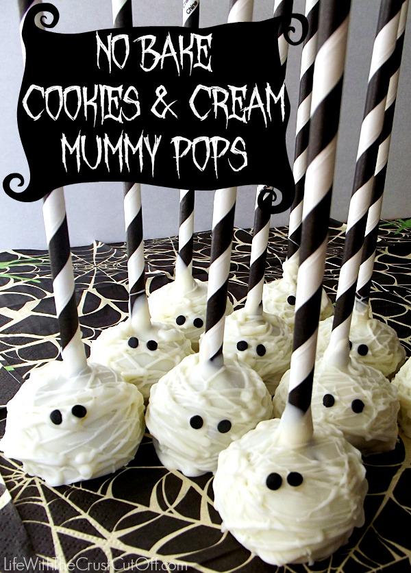 No Bake Cookies & Cream Mummy Pops