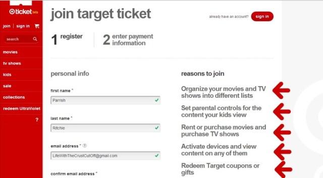Target Ticket register page #shop #cbias