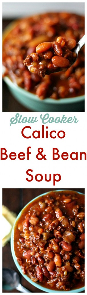 Slow Cooker Calico Beef & Bean Soup.  Delicious & hearty soup made right in the slow cooker!