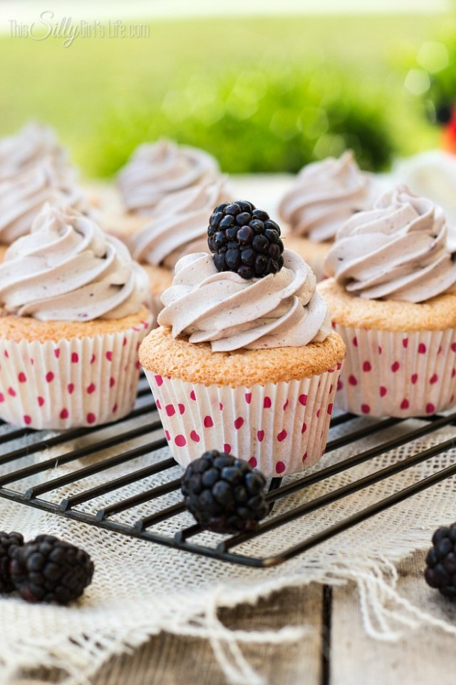 Angel Food Cupcakes with Blackberry Frosting from ThisSillyGirlsLife-4