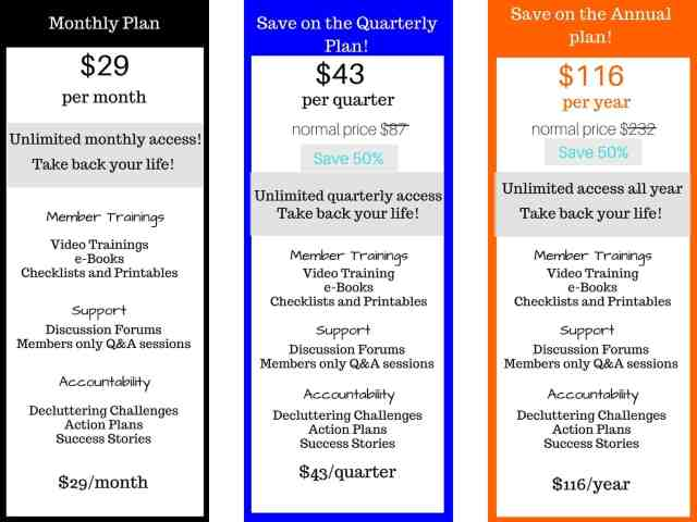 Clutter Free Life Membership Options Page Black Friday 3
