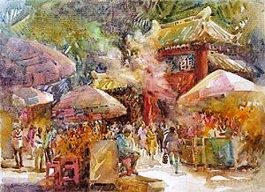 Singapore Europe China Bali artworks oil watercolour paintings
