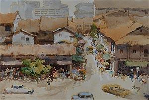 Singapore Tian Hok Kin Temple, Watercolor Painting