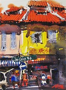 Zhu Hong Watercolour Painting Singapore Street Scene Artist