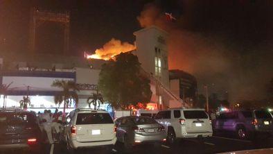 IMÁGENES: Incendio en Estadio Quisqueya Juan Marichal de capital Dominicana