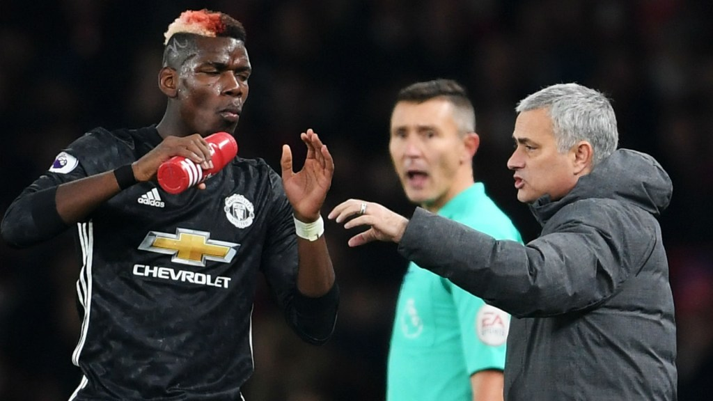 paul pogba și jose mourinho - manchester united