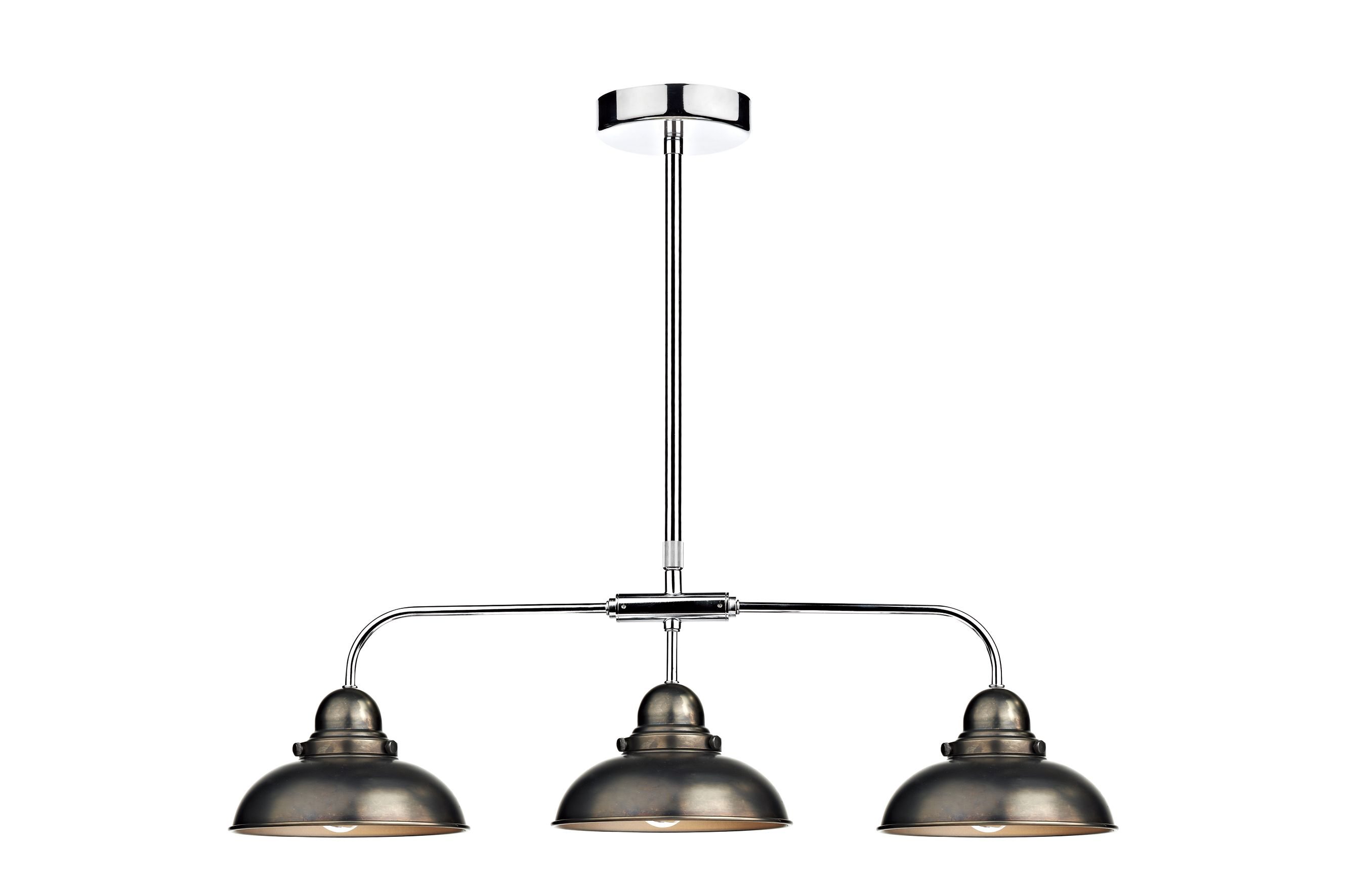 Dynamo 3 Light Antique Chrome Bar Pendant Ceiling Light
