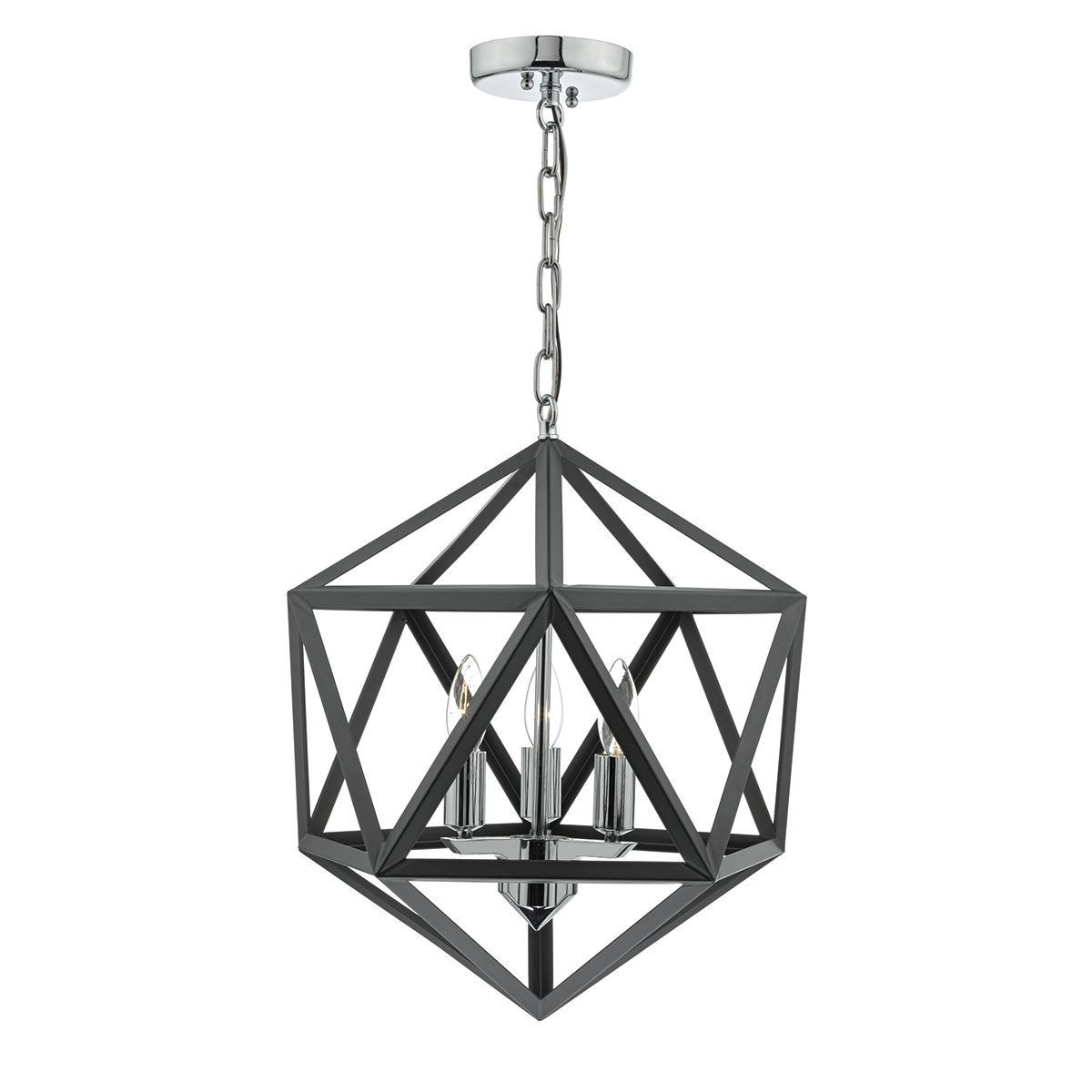 Levaine 3 Light Pendant Graphite Polished Chrome