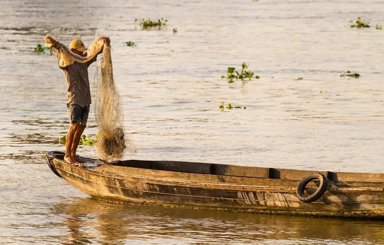 Fisherman, Mekong River, Vietnam