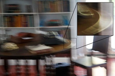 In Ernest Hemmingway's writing room, you can look at the highlight on the edge of the table to see that when I pressed the shutter, the camera dipped down and to the side.