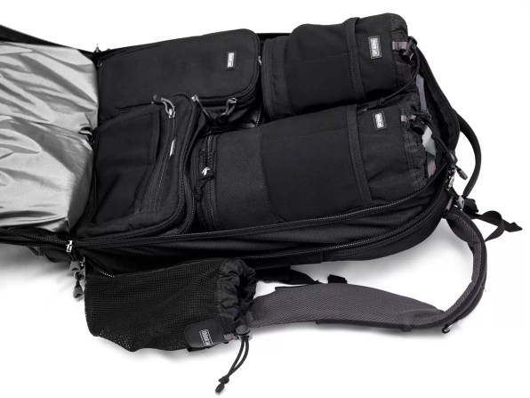 Here, two lens bags and two flash/equipment bags fit nicely into the Naked Shape Shifter 2.0