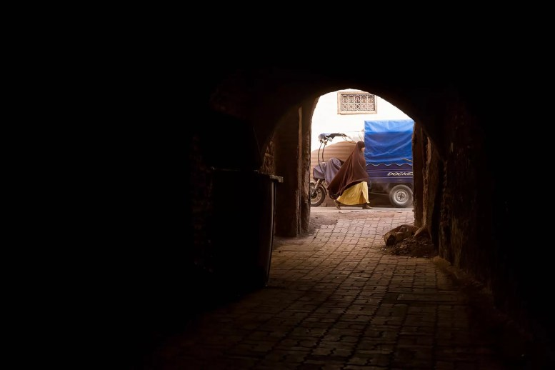 Finding the front door of the Riad Sun of Kech required navigating a tunnel for perhaps 25 meters. This is the view from about halfway through, back towards the street.