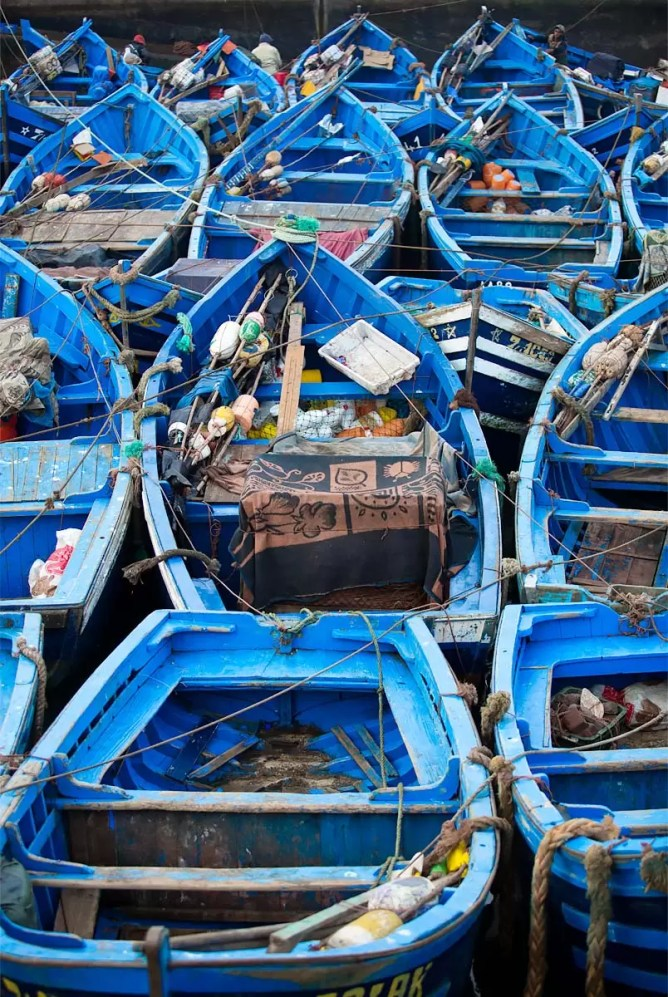 More blue boats.