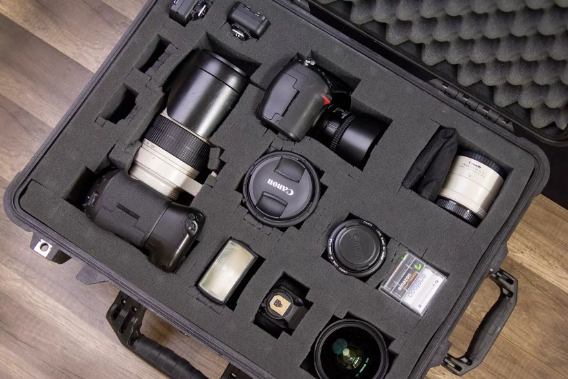 This case easily fits a couple of camera bodies, a few lenses, and flashes, and I could have been more economical with space. (I don't normally pack Canon and Nikon gear together, but I was shooting with a Canon and wanted to fill the space).