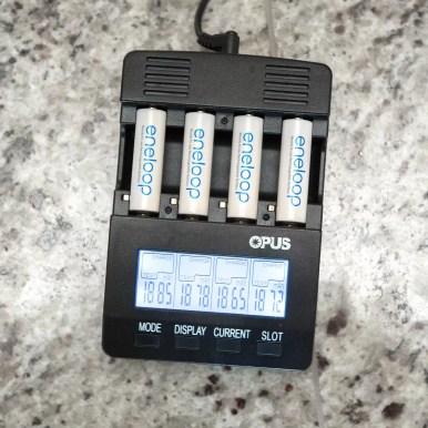 Eneloop batteries testing at just under 1900 mAh capacity.