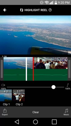 The Highlight Reel view has an audio mixer (clip sounds vs music) and a hit-point marker for the video.