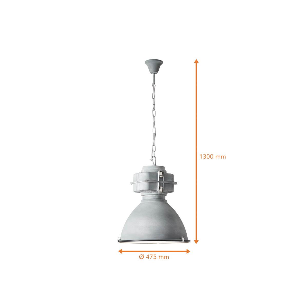 lampe a suspension metal industriel verre en gris